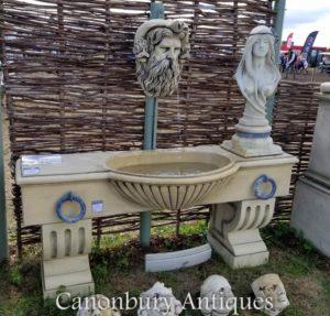 英语石水槽墙喷泉海王星头