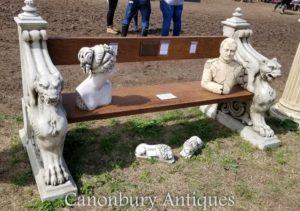 飞过的狮子石头庭院位子长凳