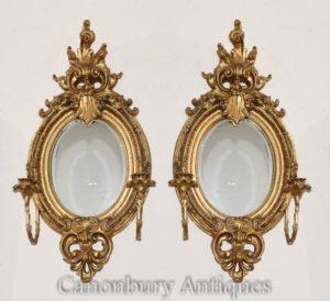 对法国路易十六Gilt Girandoles镜子烛台