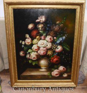 大型维多利亚花卉展示静物油画