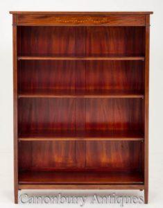 古色古香的维多利亚时代开放前面书柜与镶嵌大约1900年