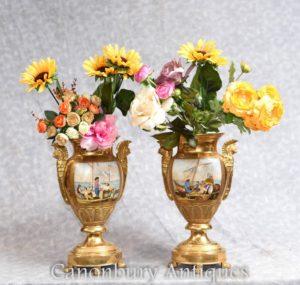 对德累斯顿瓷器金色花瓶经典