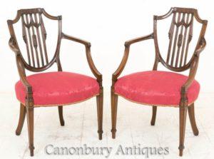 Hepplewhite臂椅-古董红木大约1900年