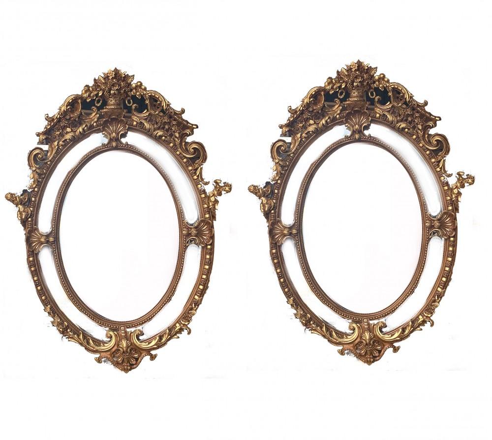 一对大型镀金后视镜-椭圆路易十六洛可可式
