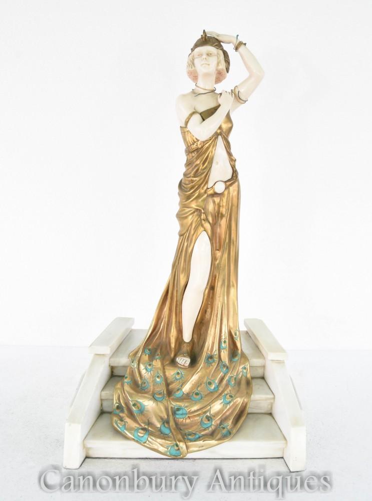 装饰艺术风格的青铜盛大入口雕像签署奇帕鲁斯