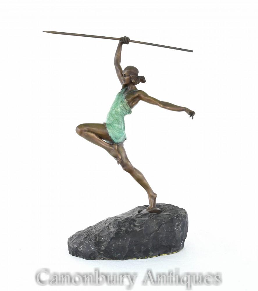 La Faguays装饰艺术青铜戴安娜弓箭手雕像