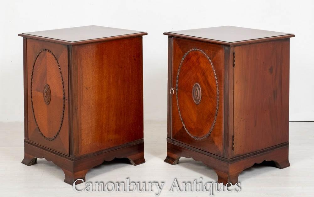 一对维多利亚时代侧柜-桃花心木床头柜1880
