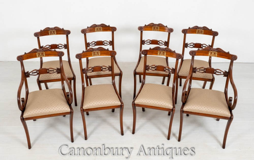 设置摄政餐椅-仿古玫瑰木黄铜镶嵌
